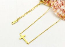 "Sideways Cross 14K Gold 16"" + 2"" Extension Necklace Faith Religious Gift PE11"