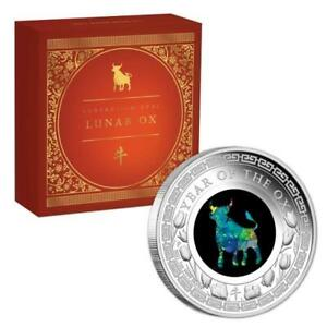 2021 OPAL YEAR OF THE OX 1 oz SILVER PROOF COIN..STUNNING..SOLD OUT.