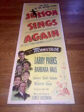Original Movie Theatre Poster Al JOLSON SINGS AGAIN insert 1949 ULTRA RARE!
