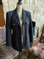 Excellent Black 💯 Wool Blazer Gold Lion Buttons Black Riding Coat Size 10