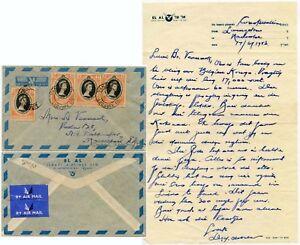 FLIGHT LETTER ABOARD CONSTELLATION 1953 EL AL NOTEPAPER RHODESIA NAIROBI AIRPORT