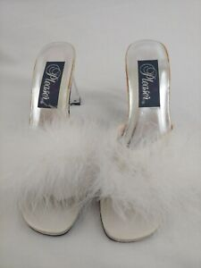 """PLEASER Sexy Bedroom White Feather Slippers Shoes Heels W/ Clear 3.5"""" Heel Sz 8"""