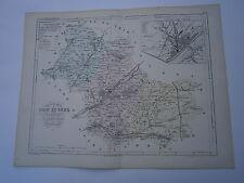 Carte 19° 1852  couleur atlas Malte brun Département Loir et Cher plan de Blois