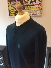 Gabicci Green Merino Wool Knitted Collared Jumper M-L Mod Italian 60s Polo Shirt