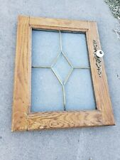 "VINTAGE OAK CABINET DOORS W/LEADED/GLASS & Some BRASS Hardware~12""X15.5""+ HINGES"