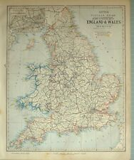 1881 LETTS MAP ENGLAND & WALES LIVERPOOL MANCHESTER NORFOLK LONDON SUSSEX DEVON
