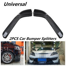 2Pcs Wing Type Carbon Fiber Look Car SUV Front Bumper Lip Diffuser Splitters Kit