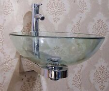 Bathroom EN SUITE Wall mounted CLEAR round glass basin sink wash bowl + STAND