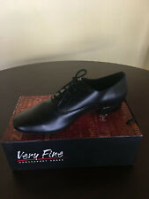 """Very Fine  Men's dance shoes 1"""" heel smooth standard Size 9.5 black  leather"""