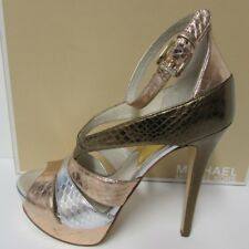 Michael Kors Size 9.5 Leather Rose Gold & Silver Heels New Womens Shoes
