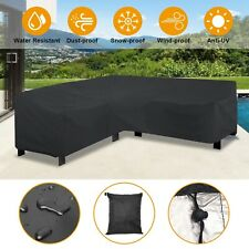 Black L Shape Sofa Cover Patio Outdoor Garden Furniture Dustproof Protector New