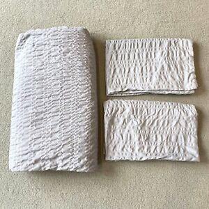 Morrisons Grey Waffle King Size Bedding Duvet Sheet 2 Pillowcases