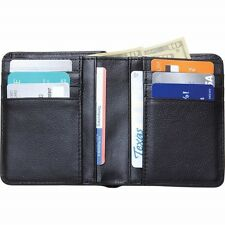 New Mens Slim Black BIFOLD WALLET Solid Buffalo Leather Credit Card Money Holder