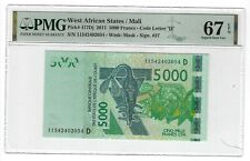 P-417Dj 2011 5000 Francs West African States / Mali, PMG 67EPQ SUPERB GEM