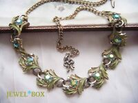 VINTAGE 1960s ENAMEL Aurora Borealis Rhinestone Crystal NECKLACE by EXQUISITE