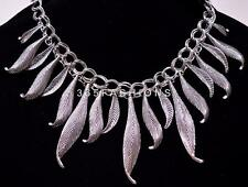 Statement Curved Leaf Swirl Engraved Chain Collar Bib Tribal Necklace Silver