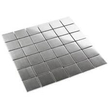 Metall Mosaik Fliesen MetallMosaik Edelstahl 4,8 x 4,8 cm gebürstet