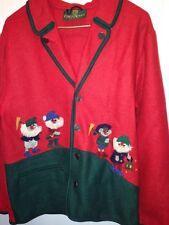 Giesswein Austria Boiled Wool Sweater Coat Jacket Ugly Xmas elf SZ 16 Red Dwarf