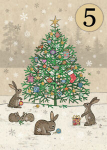 Bug Art Luxury Christmas Cards 'Rabbits Tree' Pack 5 Gold Foiled Blank Inside