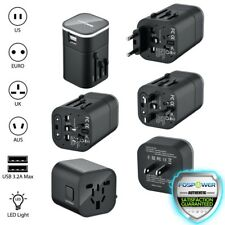 FosPower 16W Dual USB Port International World Travel Adapter Wall LED Charger