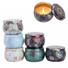6 Vintage Flower Print Metal Tin Jar Candle Making Containers Storage Case w/Lid
