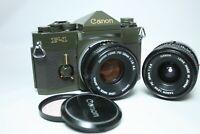 Canon F-1 Olive Drab 35mm SLR Film Camera + FD 50mm f1.8 + 28mm f2.8 NFD Japan