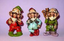 3 VINTAGE CHRISTMAS PLASTER ELVES/GNOMES FIGURES ORNAMENTS JAPAN VGC