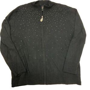 Christine Alexander Jeweled Black Jacket Women's Size XL Zip Up