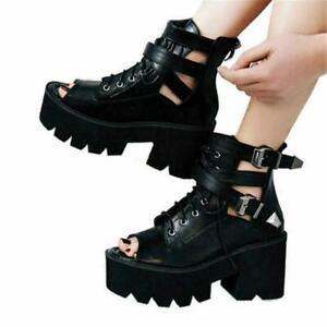 Gladiator Women Black Sandals Platform Gothic High Heel Open Toe Boot Punk Shoes