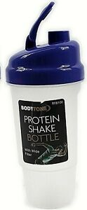 PURPLE Protein Shake Bottle Body tone Mixer fitness flip up lid filter 600ml