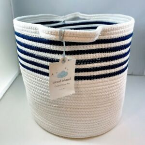 CLOUD ISLAND Large Round Coiled Rope Bin Basket   White with Navy Blue Stripes