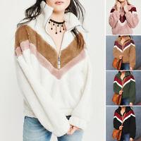 Women Warm Teddy Bear Fluffy Fleece Fur Jacket Coat Outwear Pullover Sweatshirt