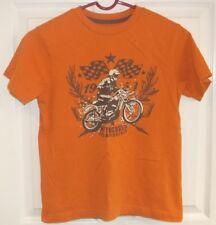 Boys OLD NAVY~Orange T-SHIRT~size 8 MEDIUM~NEW Graphic MOTORCYCLE Shirt Top