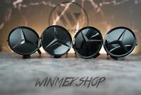 4 x Glossy Black Mercedes Benz Style Alloy Wheel Centre Caps 75mm New Rare