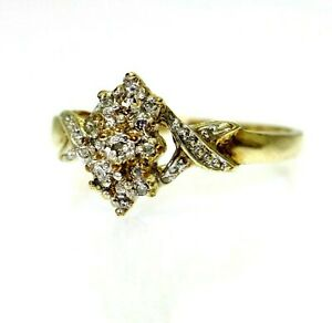 9ct 9k Gold Diamond Cluster Ring Size 7 1/4 - O