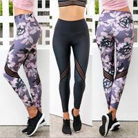Womens Print Sports Yoga Fitness Leggings Gym Pants Exercise Running Trousers #@