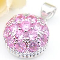 Gorgeous Multi Natural Shiny Round Pink Topaz Gemstone Silver Necklace Pendants