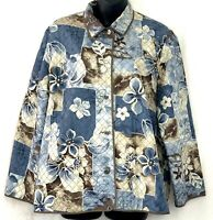 Alfred Dunner Womens Blazer Silk Jacket Quilted Floral Button Beige Blue 14P