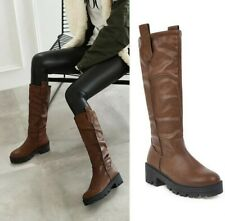 Women's Pleated Round Toe Mid Calf Boots Chunky Low Heel Motorcycle Casual Shoes