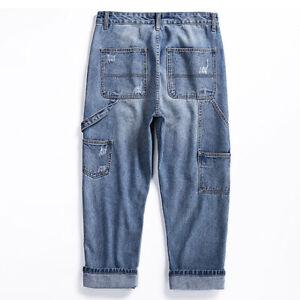 Mens Design Washed Denim Pants Cropped Jeans Straight Leg Trousers Vintage