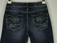 Silver Aiko Womens Sz 28/31 Dark Wash Distressed Bootcut Jeans Stitched Pockets