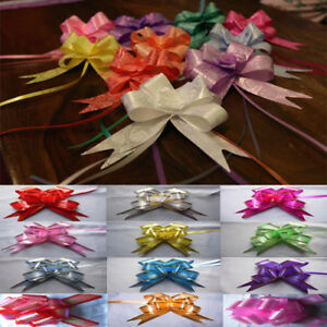100 LARGE Ribbon Bows Assorted Colours Easy Pull Flower Ribbon Party Decorations