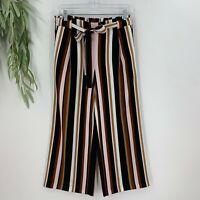 Ann Taylor Womens Wide Leg Trouser Pants Size SP Striped Elastic Waist Crop D9