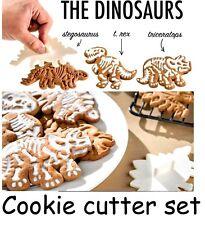 Dinosaur Large Cookie Cutter (x3) Emboss Fossil Bone Pattern Cake Decoration