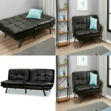 Black Faux Leather Memory Foam Futon Coach (Quick Shipping