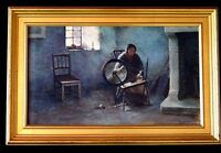 HST ancien tableau la fileuse rouet signé 41x24,5 painting spinner signed