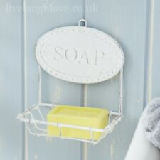 Vintage Style Painted Metal Hanging Soap Dish - Distressed White