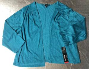RAFAELLA plus Size Women Novelty Knits Cardigan Lightweight Sweater Size 2X Blue