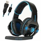 Sades SA-903 7.1 Surround Sound Gaming Headset Headband Bass USB For PC w/Mic