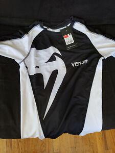 Venum Giant Long Sleeve MMA Rashguard - Black/White SIZE LARGE